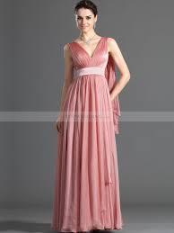 Long Draped Dress Ruched Sleeveless V Neck Long Chiffon Prom Dress With Back Draping