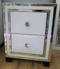 two drawer bedside table glass mirrored two drawer bedside table