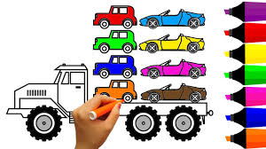 learn colors with monster truck and super car coloring pages fun