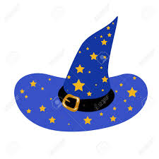 blue wizard s hat with stars royalty free cliparts vectors and