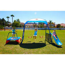 Playground Sets For Backyards by Swing Sets For Backyard Metal Playscape Trampoline Slide Kids
