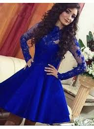 royal blue a line lace short long sleeve cute homecoming dresses