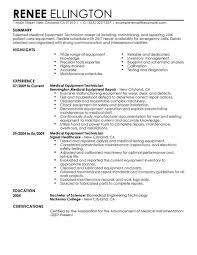 cv format for biomedical engineers salary range best medical equipment technician resume exle livecareer