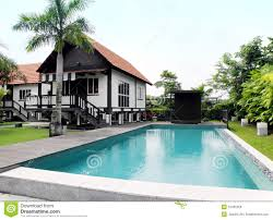 House With Pool Tropical Style House With Pool And Landscaping Royalty Free Stock