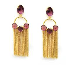 golden earrings buy ziara golden earrings with pink stones and multi chains