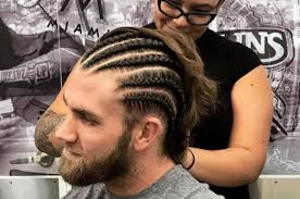 picture of corn rolls look washington nationals bryce harper transforms flow to cornrows