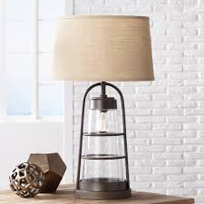 Farmhouse Table Lighting industrial lantern table lamp with night light amazon com