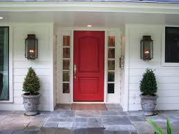 red modern entry doors for home combined with outdoor wall sconces