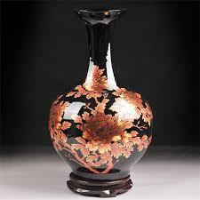Antique Hand Painted Vases Glazed Peony Flower Ceramic Vases For Home Decor Porcelain Vase