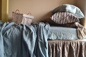 duck egg blue heavy weight linen coverlet throw blanket