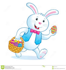bunny basket eggs bunny carrying easter basket with eggs stock image image 68179437