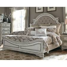 Antique King Bed Frame Antique White Traditional Upholstered King Size Bed Magnolia