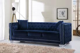 meridian reese velvet sofa in navy 648navy s sofas living room