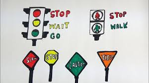 draw and color traffic signs and road signs for kids traffic