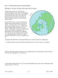 rotational kinematics worksheet packet speed rotation around a