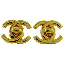 lock earrings chanel vintage gold toned turn lock clip on earrings summer