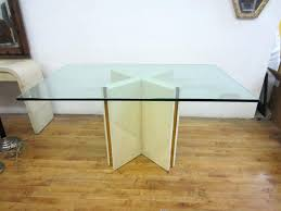 rectangle dining table shape wooden base pedestal glass top room