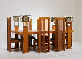 frank lloyd wright dining table and six side chairs designed for