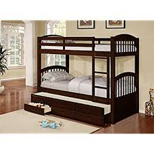 Bunk Beds With Trundle Amazon Com Wood Twin Size Bunk Bed Bunkbed With Trundle
