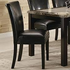 Leather Parson Dining Chairs Set Of 2 Parson Dining Chairs In Black Faux Leather
