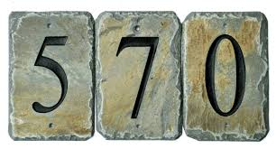 stone house numbers tiles reclaimed slate mailbox post