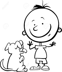 black white cartoon illustration cute boy