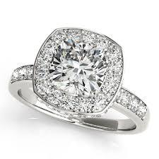 cushion ring cushion cut halo diamond engagement ring 14k white gold 1 34ct
