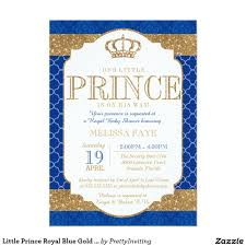 Baby Shower Card Invitations Little Prince Royal Blue Gold Baby Shower 5x7 Paper Invitation