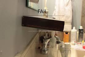 diy floating shelves bathroom wooden vanity against dark gray wall