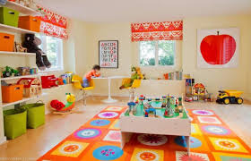 kids playroom toy storage idea at modern house with white door