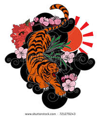 tiger roaring cherry blossom peony stock vector 721279243