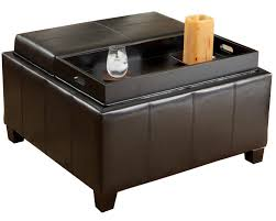 round black leather wood ottoman coffee table with pull out tray