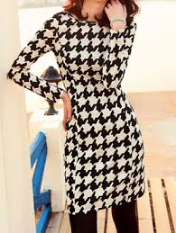houndstooth dress black white sleeve houndstooth dress shein sheinside