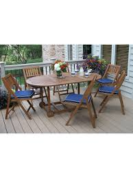Eucalyptus Outdoor Table by Patio Table Set 7 Piece Oval Folding Table Gardeners Com
