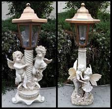 2 outdoor garden decor solar fairy angel cherub statue sculpture
