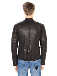 padded leather motorcycle jacket dirk bikkembergs leather moto jacket in black for men lyst