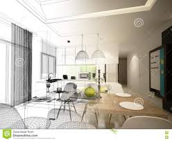 Room Sketch Abstract Sketch Design Of Interior Dining And Kitchen Room 3d