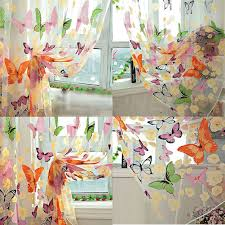 Floral Curtains 200 X 90cm Floral Butterfly Sheer Curtains Sheers Voile Tulle