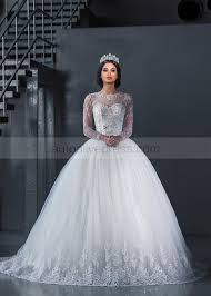 sheer sleeve wedding dresses gown sheer neck sleeves buttons back beaded tulle