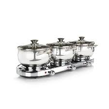infusion collection 7 piece stainless triple burner buffet set