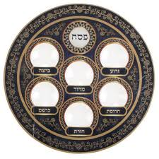 passover plate seder plate blue colors judaica passover pesach disposable pessach