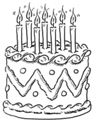 happy birthday clown with balloons and cake coloring page free