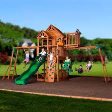 backyard discovery skyfort ii wooden cedar swing set walmart com