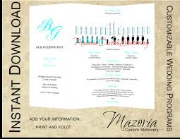 tri fold wedding program templates silhouette wedding programs diy tri fold customizable instant