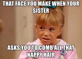Nappy Hair Meme - that face you make when your sister asks you to comb all that nappy