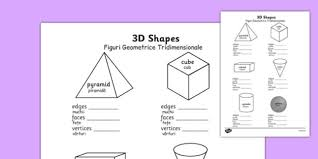 3d shape properties worksheets romanian translation romanian