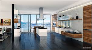 beautiful kitchen design style and contemporary glass table offer