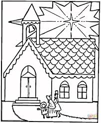 family visits church on christmas coloring page free printable