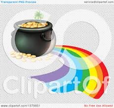 clipart of a pot of gold and rainbow royalty free vector
