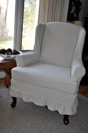 bedroom gray fabric wingback chair cover with full length skirt